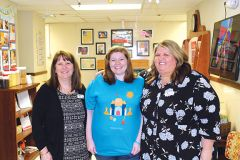 Aubrey McCain (teacher wearing the shirt she designed),; Jamie Roberts, Sr. Director of Content & Creative (pink top); Dawna Allred, Center Director (black sweater); Kelly Wagman, District Leader (black flower top).