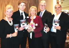 Sacramento DA Anne Marie Schubert (center) was named Person of the Year at the Carmichael Chamber of Commerce gala. She was joined by Rosemarie Martell, Connor Pexa, Ron Greenwood and Mahmud Shariff. Photo by Susan Maxwell Skinner.
