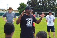 Retired Oakland Raider and NFL Hall of Fame player Tim Brown sponsored the Tim Brown 9-1-1 Playmakers Camp. Photo by Roger Riggsby.