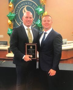 Rancho Cordova Police Department (RCPD) Lieutenant Rob Patton (on left) presented with the award. Photo courtesy City of Rancho Cordova