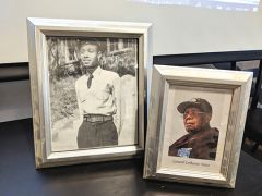 Two portraits of Lenard Yates displayed before and after his years of service at the American Legion Veterans
