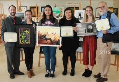 Congressional District 7 staffers Philip Norton (left) and Ivanna Pincilotti (third from right) presented awards to national art contest winners at Sacramento Fine Arts center.