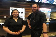 Concessioners Dyanna Paredes and A J Souza who will now work close to home at Country Club Cinema.
