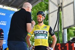 (At right) Stage 1 winner Peter Sagan talks about the first day of the race. Photo by Rick Sloan