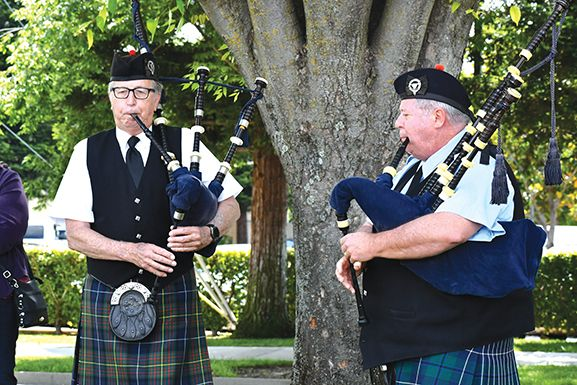 The bagpipers added reverence and grace to the ceremony. Photo by Rick Sloan