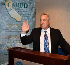 CRPD Secretary Rick Sloan was sworn in as the new President of the CARPD Board of Directors for 2019-2020. Photo courtesy of CRPD