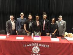 Panelists from the Homelessness Town Hall at C.K. McClatchy High School. Left to Right: Jacob Bytel (City of Sacramento Mayor's Office), Julian Oakley (Wind Youth Services), Diana Anderson (Wind Youth Services), Kamryn Hall (Event organizer), Adriana Ruelas (Steinberg Institute) and Eduardo Ameneyro (Sacramento County Department of Human Assistance). Photo by Ellen Wong, courtesy of C.K. McClatchy High School