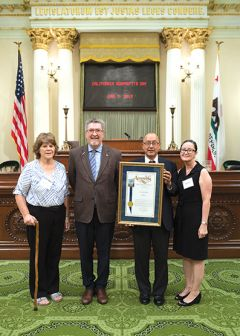 From left to right: Lorraine Robinson Vice President of Wilton History Group, Assemblyman Ken Cooley, Edgar Monroy, President of the Wilton History Group, and board member of Wilton History Group, Adriana Monroy. Photo courtesy of Office of Ken Cooley.