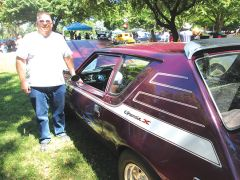 Jim Eger is the original owner of this Gremlin purchased from American City Rambler on Fulton Avenue in 1972. It was restored in 2006 and is the same color as in 1972 – photo by Sandy Thomas