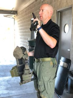 POP Officer James Garing demonstrates protective gear used in dangerous situations. Picture courtesy of Citrus Heights Police Department