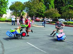 Students from the Rancho Cordova campus of San Joaquin Valley College race in a Costumed 5K Ventilator Relay Race.