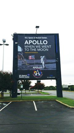 U.S. Space Center in Huntsville, Alabama commemorated the July 20, 1969 Moon landing. Photo by Sal Arrigo, Jr.