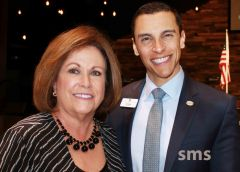 Susan Peters last week announced her final term as County Supervisor at the Carmichael Chamber of Commerce luncheon. Chamber President Jim Alves was among well-wishers.
