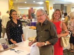 Summerset Senior Living's Resident Liaison Victoria Olivarez, checking in attendees Merlin Mauk and Becky Harvey. Courtesy Summerset Senior Living Rancho Cordova