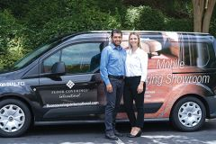 Jose and Jennifer Elias will visit customers' homes with their Floor Coverings International of Carmichael Mobile Flooring Showroom stocked with thousands of flooring samples. Photo courtesy of Rhonda Sanderson