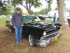 Showing off his 1956 Ford Fairlane Victoria is Al Lyons of Elverta. Photo by Paul Scholl
