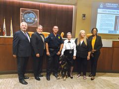 The City of Citrus Heights welcomes the newest members of the CHPD K9 Unit. From left: Councilmember Steve Miller, Councilmember Bret Daniels, CHPD K9 Unit Officer Todd Ross with canine Flint-Rex, CHPD volunteer Renate Saylors, Mayor Jeannie Bruins, and Councilmember Porsche Middleton.