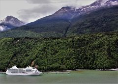 Docked in Skagway, Alaska, is Seven Seas Mariner, one of the Regent Seven Seas Cruises ships that sails out of California. Photo by David Dickstein
