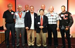"""2019 inductees from front row L-R: Steve Finch, Doug Hilton, Dr. Jim Champa, Don Martinez III, Tom Doherty and Jacquecar Robinson. Back row L-R: Mike Ondina and Robert """"Pete"""" Reed. Not pictured are: Annie Klimecki-Roe, Chris Nyman, Bill Ferreirae, Billy Ferreirae and Tom Williams. Photo by Rick Sloan"""
