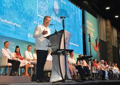 Nobel Peace Prize laureate and former Colombian president Juan Manuel Santos makes opening remarks in the Yucatan. Photo by David Dickstein