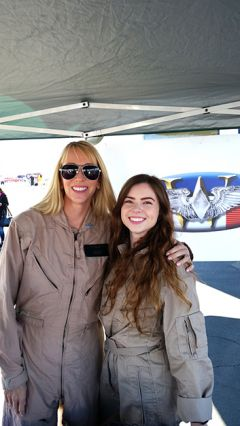 Present at this year's 14th Annual California Capital Airshow at Mather Airport are Delane Buttacavoli, left, and Kaitlan Comm, two members of the WASP National Soar Tour. Photo by Sal Arrigo Jr.