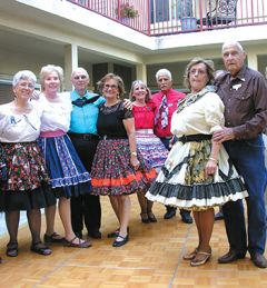 Leading the hoedown were the Associated Square Dancers of Superior California. From left to right: Carolee Catterall, Sharon Stone, Mike Barnes, Carole Welch, Nancy Contreras, Joe Contreras. Front: Ann Lehr and Walt Stafford. Photo by Patrick Larenas