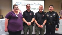 Homeless Outreach Team panel members spoke at length at the November Rancho Cordova Luncheon (from left) Gabriella Yost, Homeless Navigator; HOT officers Deputy Bobby Ranum and Deputy Matt Blanco; and Chief of Police Chris Pittman, leader of the panel.