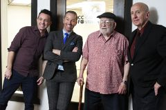 "From left to right: Ricky Borba, Co-Founder of California Capital Film Office; Mark S. Allen, host of ""Morning Blend"" on ABC10; Ed Asner, American actor and former president of the Screen Actors Guild; and Charles Lago, Co-Founder of California Capital Film Office. Photo by Rick Sloan"